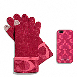 COACH BOXED IPHONE 5 CASE WITH TOUCH GLOVE - PINK SCARLET - F67242