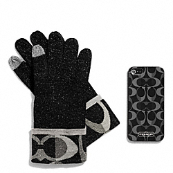 COACH BOXED IPHONE 5 CASE WITH TOUCH GLOVE - BLACK - F67242