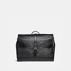 HUDSON MESSENGER IN SIGNATURE CANVAS - BLACK/BLACK/OXBLOOD/BLACK COPPER FINISH - COACH F67330