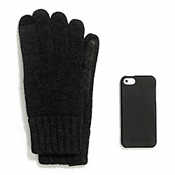 COACH TECH KNIT GLOVE AND IPHONE 5 CASE GIFT SET - ONE COLOR - F67356