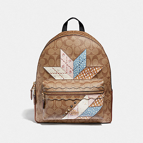 COACH MEDIUM CHARLIE BACKPACK IN SIGNATURE CANVAS WITH STAR PATCHWORK - KHAKI MULTI/LIGHT GOLD - F67369