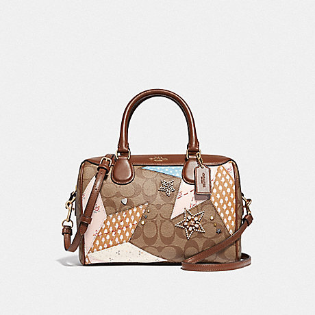 COACH MINI BENNETT SATCHEL IN SIGNATURE CANVAS WITH STAR PATCHWORK - KHAKI MULTI/LIGHT GOLD - F67370