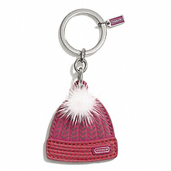 COACH KNIT HAT KEY RING - SILVER/MULTICOLOR - F67383