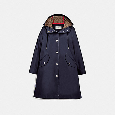 COACH RAINCOAT WITH SIGNATURE LINING - NAVY - F67459