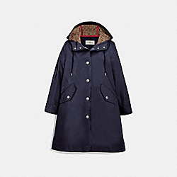 RAINCOAT WITH SIGNATURE LINING - NAVY - COACH F67459
