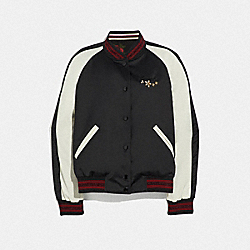REVERSIBLE TOSSED PEONY PRINT SOUVENIR JACKET - BLACK/OXBLOOD - COACH F67460