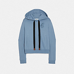 CROPPED SIGNATURE HOODIE - FRENCH BLUE - COACH F67464