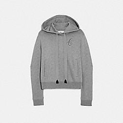 CROPPED SIGNATURE HOODIE - GREY - COACH F67464