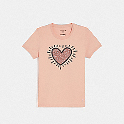 KEITH HARING SEQUIN HEART T-SHIRT - ROSECLOUD - COACH F67465