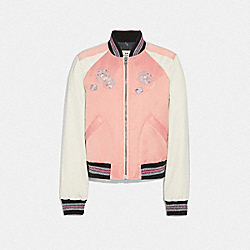 FLORAL EMBROIDERED CROPPED BASEBALL JACKET - PINK CRUSH - COACH F67471