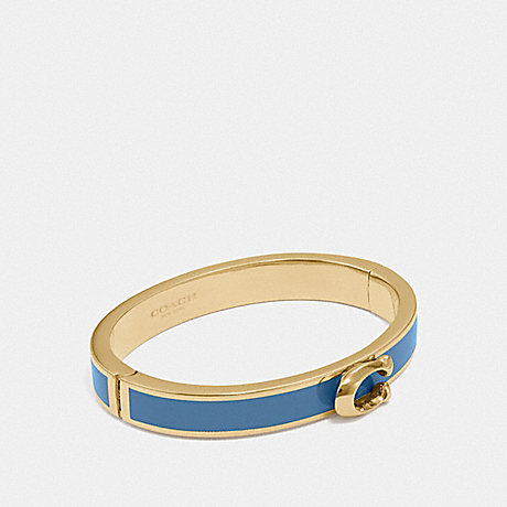 COACH SIGNATURE PUSH HINGED BANGLE - INDIGO/GOLD - F67480
