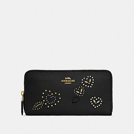 COACH ACCORDION ZIP WALLET WITH HEART BANDANA RIVETS - BLACK/MULTI/IMITATION GOLD - F67495