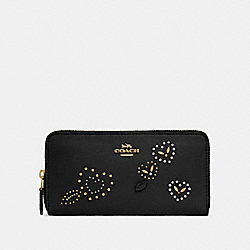 ACCORDION ZIP WALLET WITH HEART BANDANA RIVETS - BLACK/MULTI/IMITATION GOLD - COACH F67495