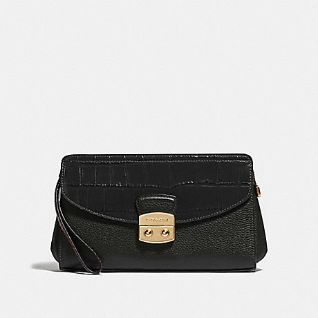 COACH FLAP CLUTCH - BLACK/IMITATION GOLD - F67497