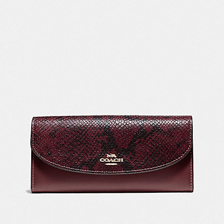 COACH SLIM ENVELOPE WALLET - WINE/IMITATION GOLD - F67499