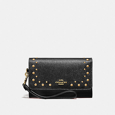 COACH FLAP PHONE WALLET WITH STUDS - BLACK/IMITATION GOLD - F67500