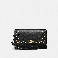 FLAP PHONE WALLET WITH STUDS - BLACK/IMITATION GOLD - COACH F67500