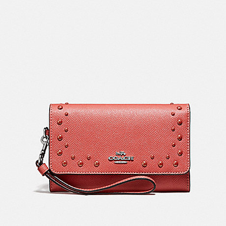 COACH FLAP PHONE WALLET WITH STUDS - CORAL/SILVER - F67500