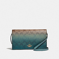 HAYDEN FOLDOVER CROSSBODY CLUTCH IN OMBRE SIGNATURE CANVAS - KHAKI/GREEN MULTI/IMITATION GOLD - COACH F67505