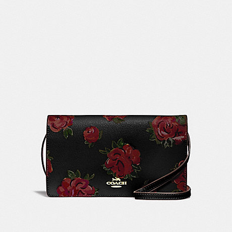 COACH HAYDEN FOLDOVER CROSSBODY CLUTCH WITH JUMBO FLORAL PRINT - BLACK MULTI/BLACK/IMITATION GOLD - F67506