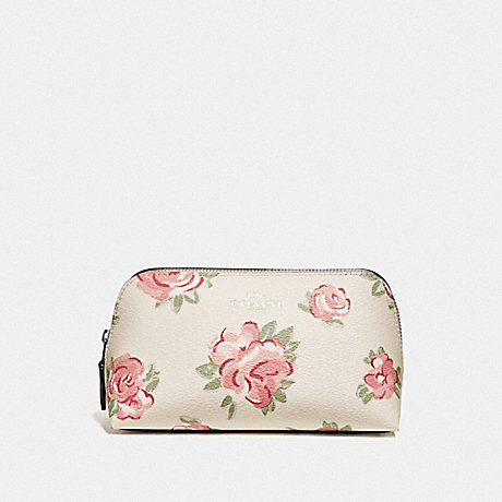 COACH COSMETIC CASE 17 WITH JUMBO FLORAL PRINT - CHALK MULTI/PETAL/SILVER - F67508