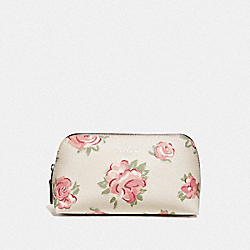 COSMETIC CASE 17 WITH JUMBO FLORAL PRINT - CHALK MULTI/PETAL/SILVER - COACH F67508