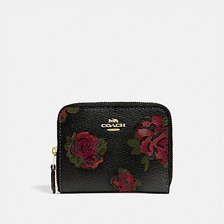 COACH SMALL ZIP AROUND WALLET WITH JUMBO FLORAL PRINT - BLACK MULTI/BLACK/IMITATION GOLD - F67511