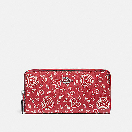 COACH ACCORDION ZIP WALLET WITH LACE HEART PRINT - RED MULTI/SILVER - F67515