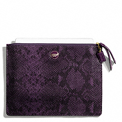 SIGNATURE STRIPE EMBOSSED SNAKE LARGE TECH POUCH COACH F67523