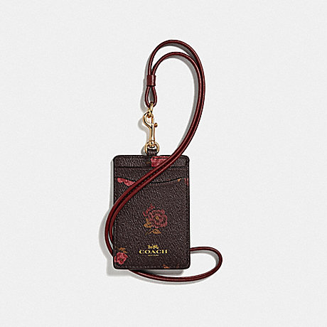 COACH ID LANYARD WITH TOSSED PEONY PRINT - OXBLOOD 1 MULTI/IMITATION GOLD - F67527