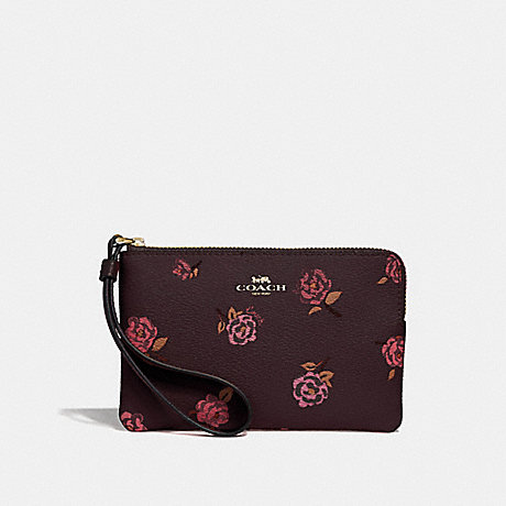 COACH CORNER ZIP WRISTLET WITH TOSSED PEONY PRINT - OXBLOOD 1 MULTI/IMITATION GOLD - F67528
