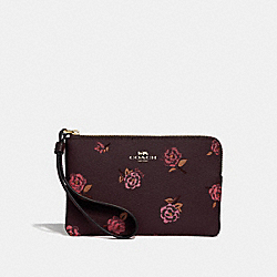 CORNER ZIP WRISTLET WITH TOSSED PEONY PRINT - OXBLOOD 1 MULTI/IMITATION GOLD - COACH F67528