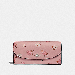 SLIM ENVELOPE WALLET WITH TOSSED PEONY PRINT - PETAL MULTI/SILVER - COACH F67529