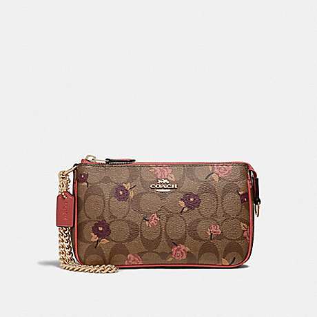COACH LARGE WRISTLET 19 IN SIGNATURE CANVAS WITH TOSSED PEONY PRINT - KHAKI/PINK MULTI/IMITATION GOLD - F67532