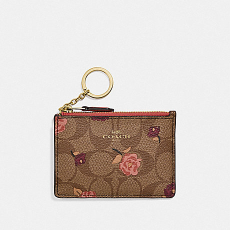 COACH MINI SKINNY ID CASE IN SIGNATURE CANVAS WITH TOSSED PEONY PRINT - KHAKI/PINK MULTI/IMITATION GOLD - F67534