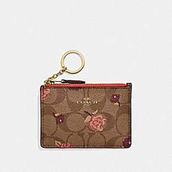 MINI SKINNY ID CASE IN SIGNATURE CANVAS WITH TOSSED PEONY PRINT - KHAKI/PINK MULTI/IMITATION GOLD - COACH F67534