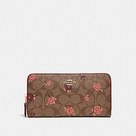 COACH ACCORDION ZIP WALLET IN SIGNATURE CANVAS WITH TOSSED PEONY PRINT - KHAKI/PINK MULTI/IMITATION GOLD - F67538