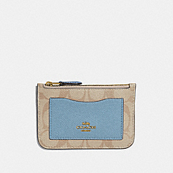 ZIP TOP CARD CASE IN COLORBLOCK SIGNATURE CANVAS - LIGHT KHAKI/MULTI/IMITATION GOLD - COACH F67545