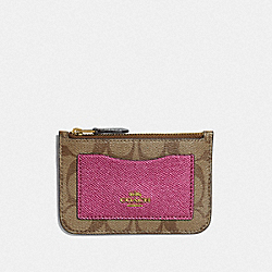 ZIP TOP CARD CASE IN COLORBLOCK SIGNATURE CANVAS - KHAKI MULTI /IMITATION GOLD - COACH F67545