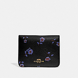 BIFOLD CARD CASE WITH VINTAGE PRAIRIE PRINT - BLACK/MULTI/IMITATION GOLD - COACH F67547