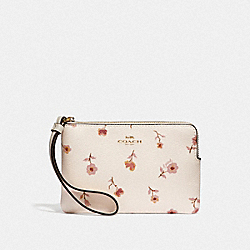 CORNER ZIP WRISTLET WITH VINTAGE PRAIRIE PRINT - CHALK MULTI/IMITATION GOLD - COACH F67550