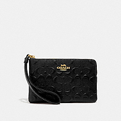 CORNER ZIP WRISTLET IN SIGNATURE LEATHER - BLACK/GOLD - COACH F67555