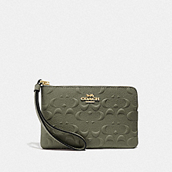CORNER ZIP WRISTLET IN SIGNATURE LEATHER - MILITARY GREEN/GOLD - COACH F67555