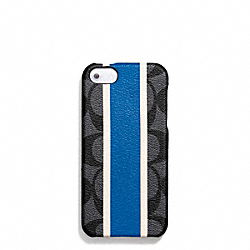 COACH HERITAGE SIGNATURE MOLDED IPHONE 5 CASE - f67556 - CHARCOAL/MARINE