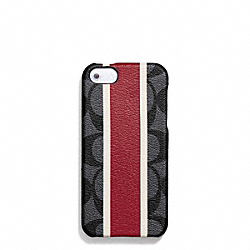 COACH COACH HERITAGE STRIPE MOLDED IPHONE 5 CASE - CHARCOALRED - F67556