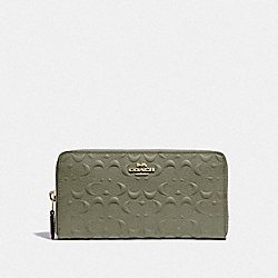 ACCORDION ZIP WALLET IN SIGNATURE LEATHER - MILITARY GREEN/GOLD - COACH F67566