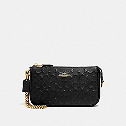 LARGE WRISTLET 19 IN SIGNATURE LEATHER - BLACK/GOLD - COACH F67567
