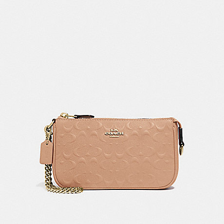 COACH LARGE WRISTLET 19 IN SIGNATURE LEATHER - BEECHWOOD/IMITATION GOLD - F67567