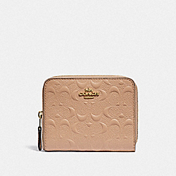 SMALL ZIP AROUND WALLET IN SIGNATURE LEATHER - BEECHWOOD/IMITATION GOLD - COACH F67569