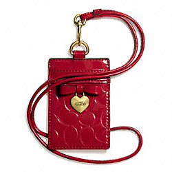 COACH EMBOSSED LIQUID GLOSS CHARM LANYARD ID - BRASS/CORAL RED - F67576